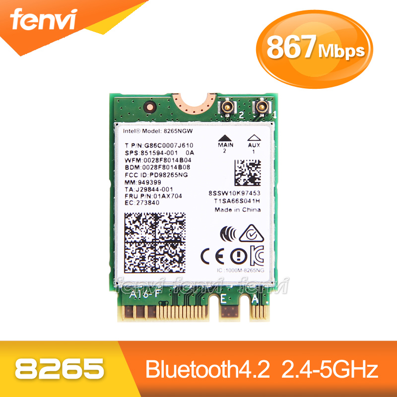 Fenvi Dual Band 867Mbps Card Wifi wireless pentru Intel 8265NGW 802.11ac Bluetooth 4.2 8265 NGFF Wifi Wlan Card de rețea 2.4G / 5G
