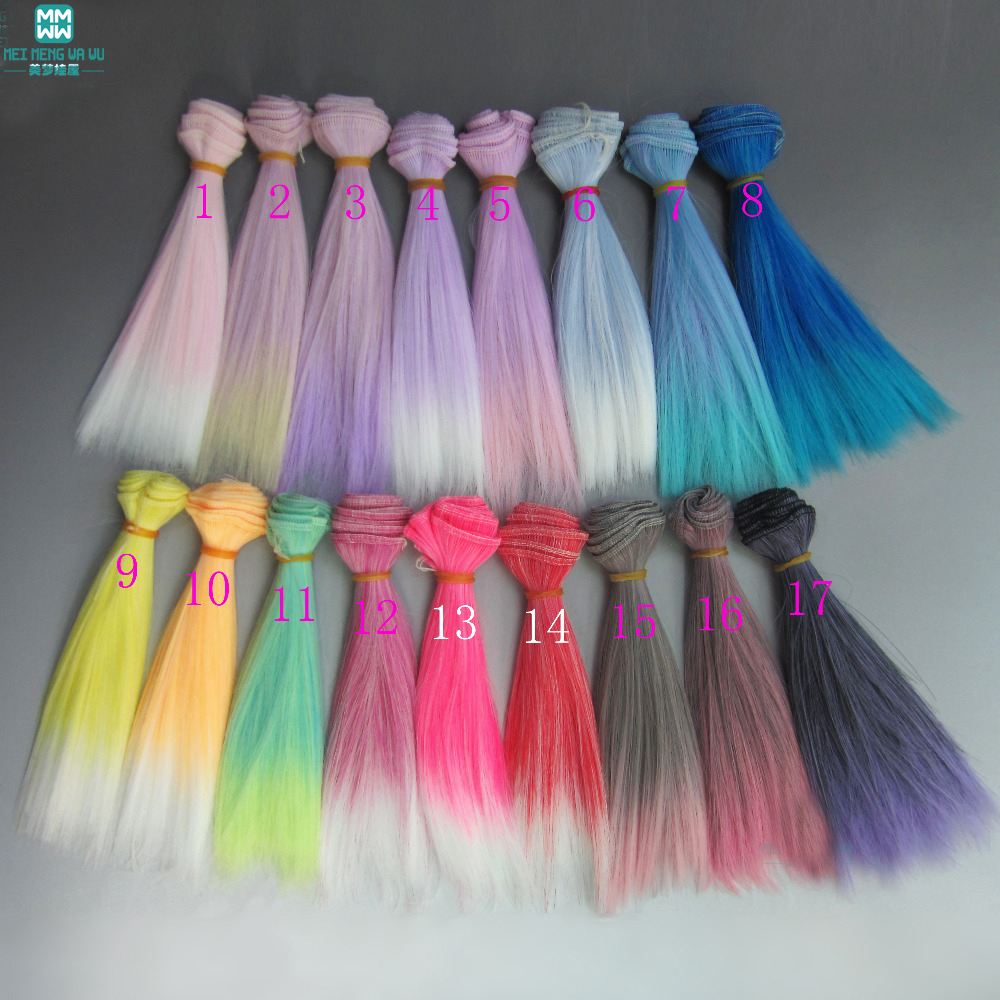 1pcs 15cm*100cm Doll accessories Straight hair for 1/3 1/4 1/6 BJD/SD doll wigs Two color gradients 1pcs 15cm 25cm bjd wigs high temperature wire straight hair piece for bjd sd dollfie