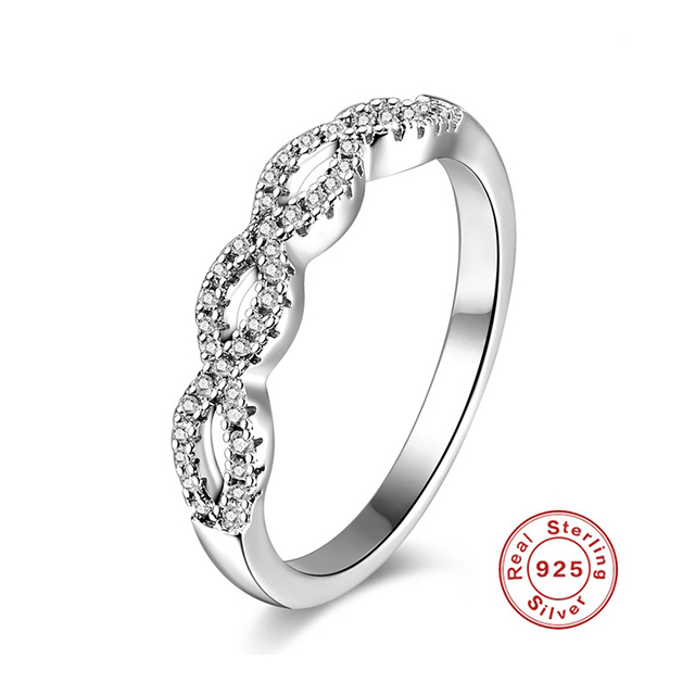 Romad Silver Engagement Ring For Women S925 Sterling Silver Wedding Ring Gift Rings For Lovers' Infinity Cz Finger Ring R4