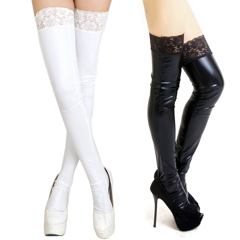 1c2608bcf6528 Sexy Women PU Leather Lycra Wet Look Thigh High Stockings With Lace Stay-up  hot
