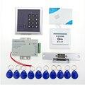 O envio gratuito de 13.56 khz completo sistema de controle de acesso rfid teclado de controle de acesso + alimentação + greve lock + porta eletrônica botão + sino + chaves