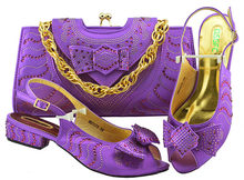 2018 New Fashion Low Heels Shoes And Bag Set For Party Purple Italian  Summer Woman Wedding 0f1c81e60fb2