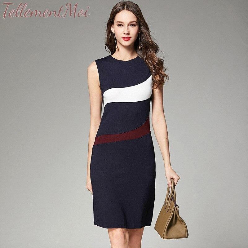 Knit Workwear Dress Elegant Pencil Dress OL Work O Neck Sleeveless Contrast Knee Length Slim Women Bodycon Dresses Vestidos 2019