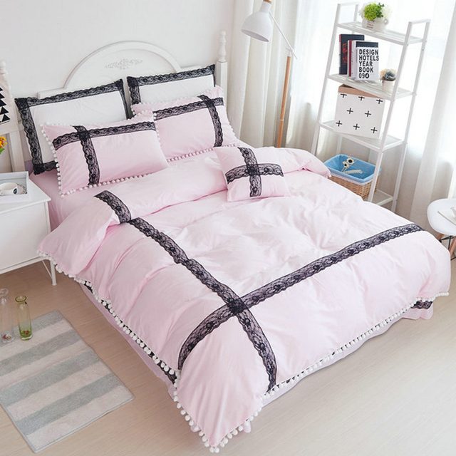 100%Cotton White/Pink Lace Design Duvet Cover Bed Sheet Set Reactive ...
