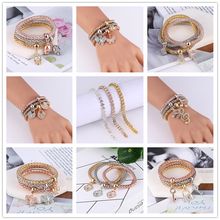 2019 Europe And America New Trendy Punk 7 Style Crystal Skull Bracelet & Bangle 3PCS Women Exquisite Bracelets Set Jewelry Gifts 2018 exquisite women bangle black ceramic with silver stainless steel shining crystal trendy cut section bracelet wedding gifts