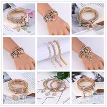 2019 Europe And America New Trendy Punk 7 Style Crystal Skull Bracelet & Bangle 3PCS Women Exquisite Bracelets Set Jewelry Gifts