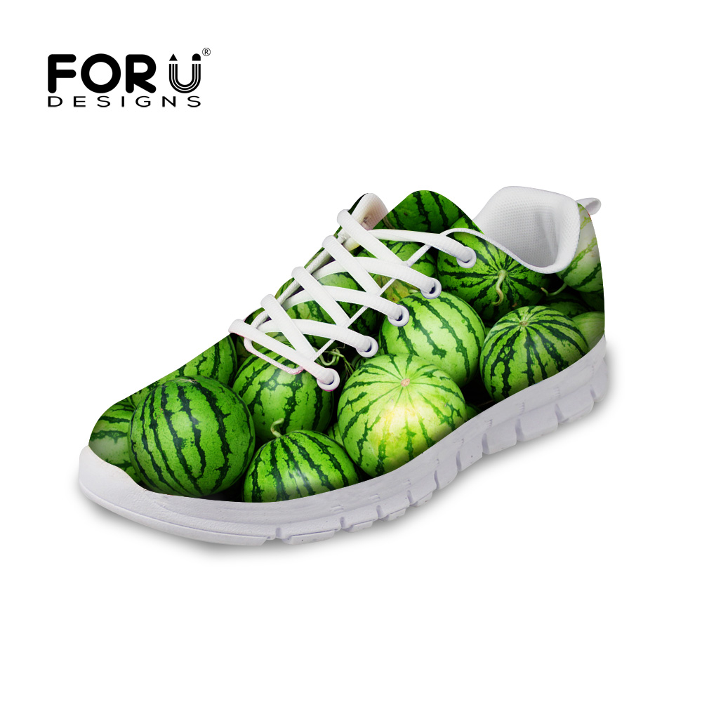 FORUDESIGNS 3D Fruit Pattern Autumn Casual Shoes Flats Woman Light Breathable Lace-up Flat Shoes for Ladies Women Leisure Shoe forudesigns sweet donuts pattern women autumn casual flat shoe fashion pink female breathable comfortable shoes for ladies flats