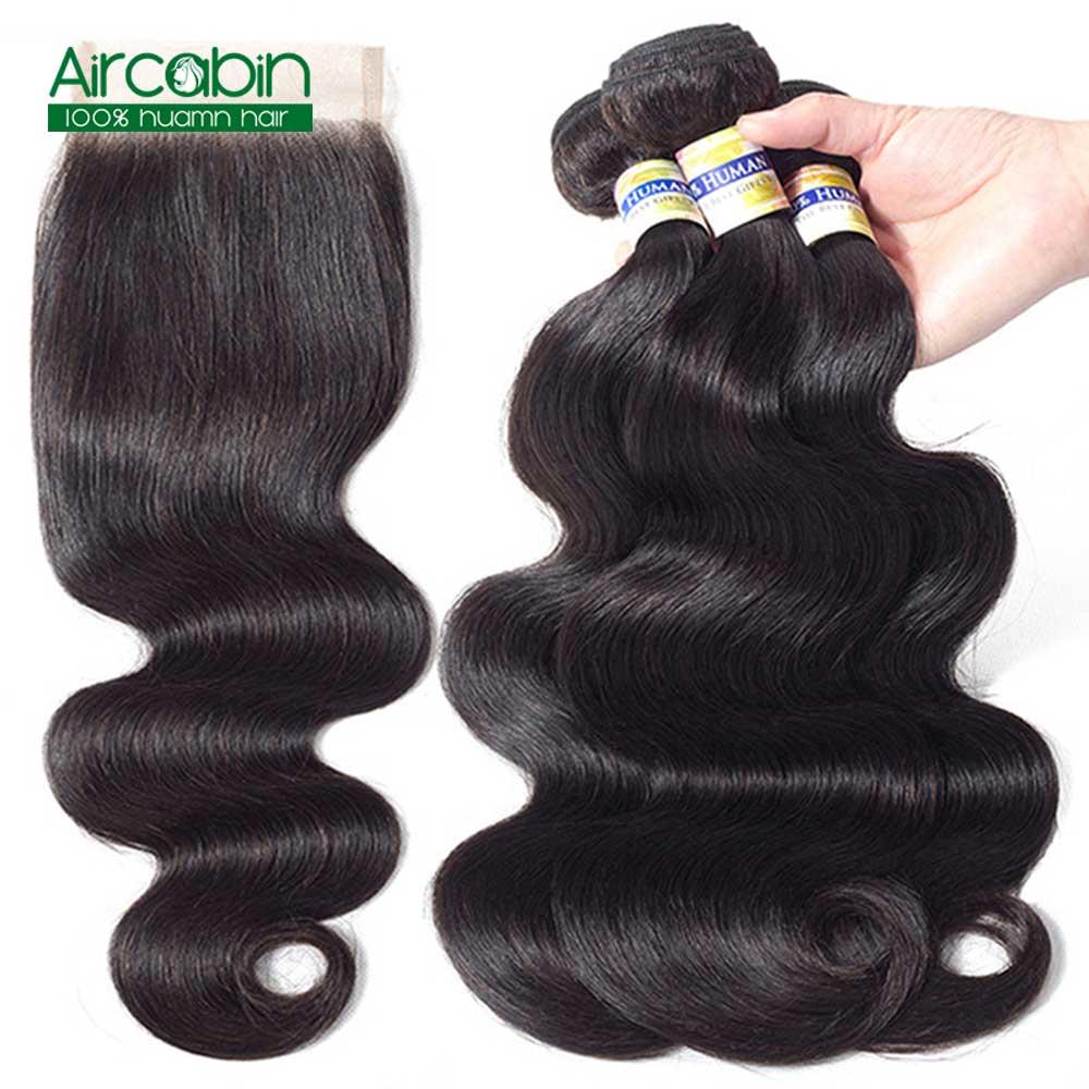 Paquetes de cabello peruano con cierre de la onda del cuerpo 3 paquetes de AirCabin Remy extensiones de cabello doble de la trama del pelo humano paquetes con cierre