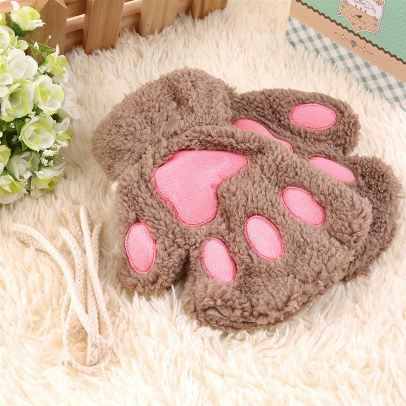 2016 Fluffy Bear/Cat Plush Paw/Claw Glove Novelty Halloween Soft Toweling Half Covered Women's Gloves Mittens S4