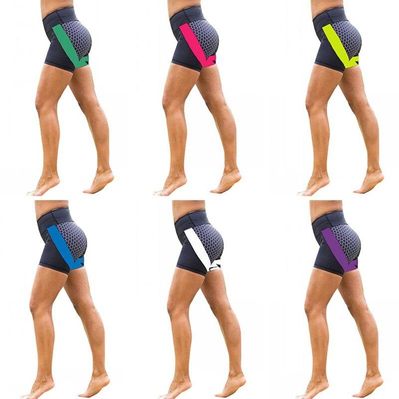 Women Stretch High Waist Bandage Workout Fitness   Shorts   Patchwork Elastic Sporting Yo-ga Dry Quick   Short   Pants 2019 New