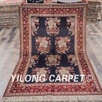 YILONG 4'x6 'qum İpek halı satılık mavi ve kırmızı el yapımı nefis antika kilim (ZW063M4x6)