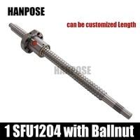 Free Shipping 1 Pc 12mm 1204 Ball Screw SFU1204 Any Length 1pc RM1204 Ball Nut CNC