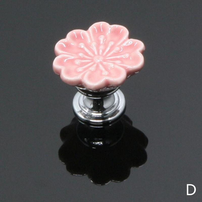 1 шт. Европейский стиль керамические Круглые цветочные ручки для шкафов, гардеробов, Кухня дверь в сад Слива фарфоровая ручка современного шкафа ручки - Цвет: Pink