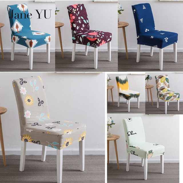 JaneYU 23 Colors Printed Spandex Stretch Dining Chair Cover Machine  Washable Banquet Muliti Style Floral Pattern