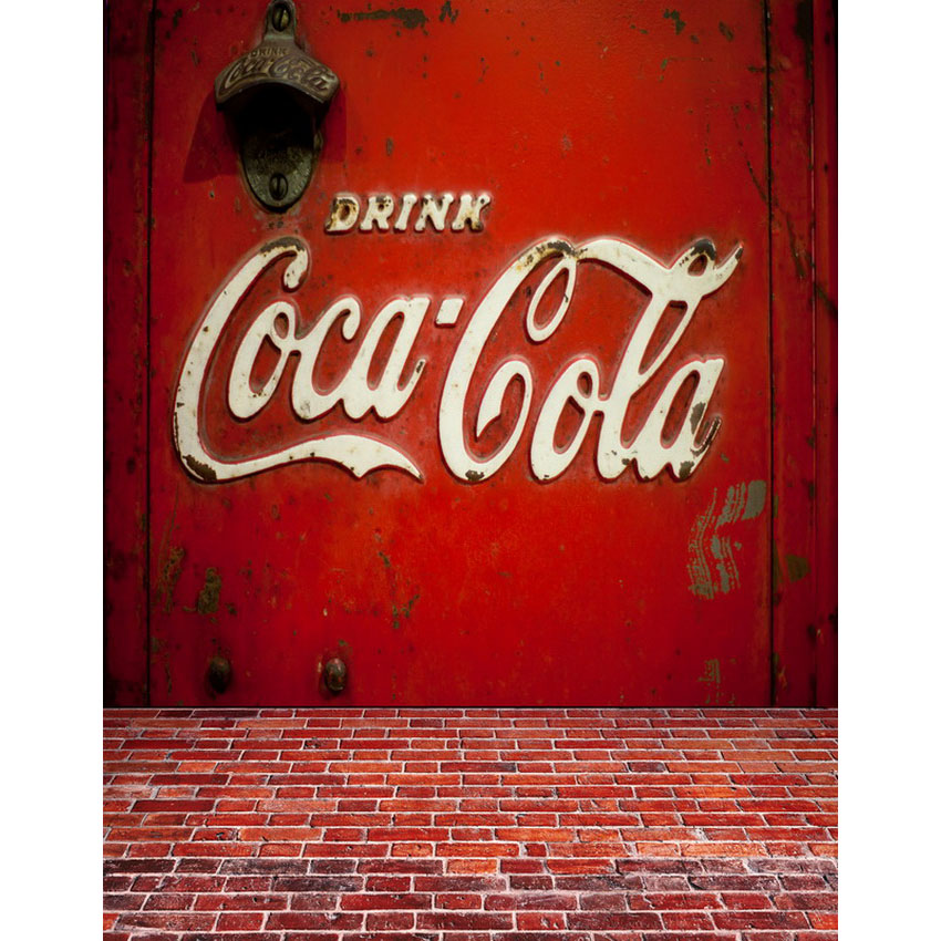 Seamless Vinyl Photography Backdrop Clca Cola Mark Sign Computer Printed Children Backgrounds for Photo Studio S-2137