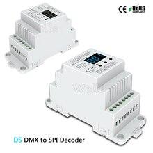 DS;DC5V 12V 24V DMX512 signal to SPI Converter DMX decoder controller support 6803/8806/2811/2812/2801/3001/9813 IC