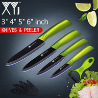XYj Kitchen Knives Set Ceramic Knife 3 4 5 6 Zirconia Japanese Knife With Peeler Black