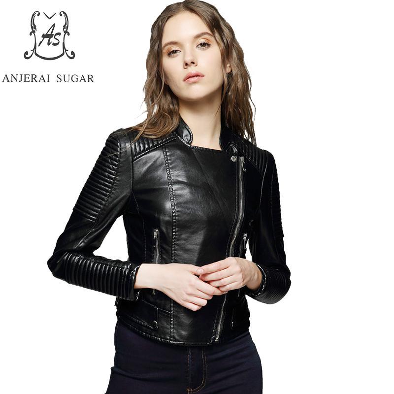 7ef010059 US $89.6 20% OFF|Spring PU Leather jacket Women Black fashion sexy Slim  zipper Mandarin Collar motorcycle female Short Faux Leather jacket coat-in  ...