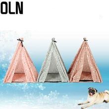 OLN Pet Bed Four Seasons Universal Removable and Clean New Flower Patterns Triangle Tent Cool Comfortable House