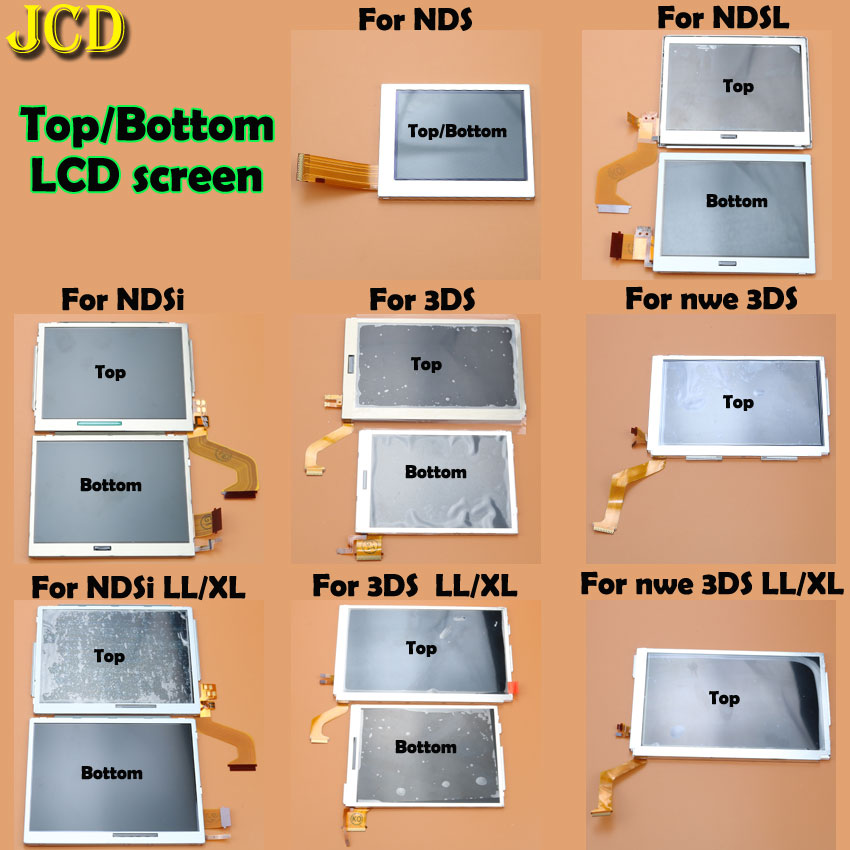 JCD 1pcs Top Bottom Upper Lower LCD Screen Display For Nintend DS Lite NDS NDSL NDSi For 3DS New 3DS LL XL For GBA SP