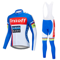 Tinkoff 2019 Team Spring and autumn Long sleeve cycling jersey set Men Mountain bicycle outdoor clothing Breathable Quick drying