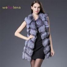 אמיתי פרוות שועל Vest נשים 2017 אופנה חדשה Gilet מעיל חורף ארוך מעילי פרווה טבעי רוסית אפוד