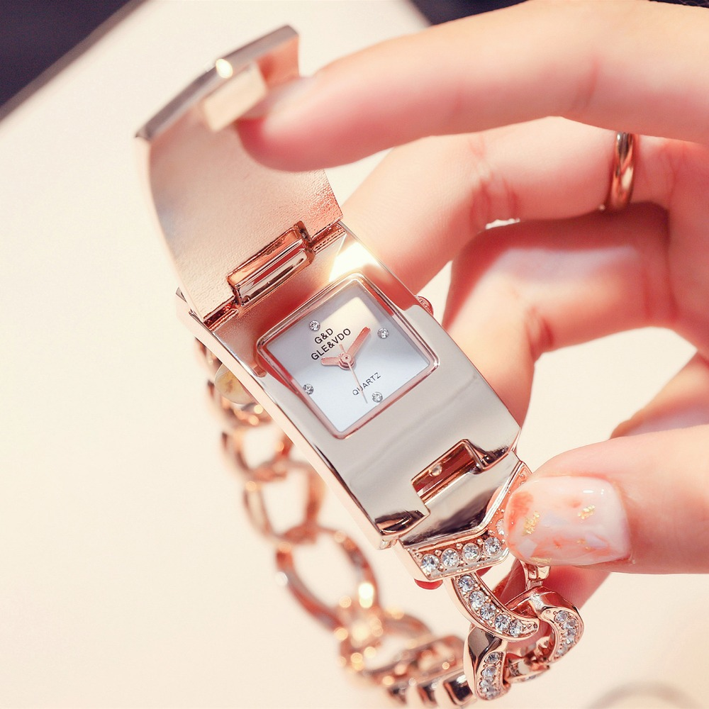 G&D Luxury Ladies Watches Rose Gold Rectangle Crystal Clamshell Womens