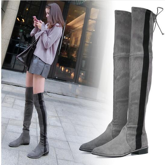 Winter lovely Slim Boots 2017 Fashion Design Mix Color Women Shoes Stripe Low Heel Over Knee Boots Sexy Lace Up Thigh High Boots цена 2017