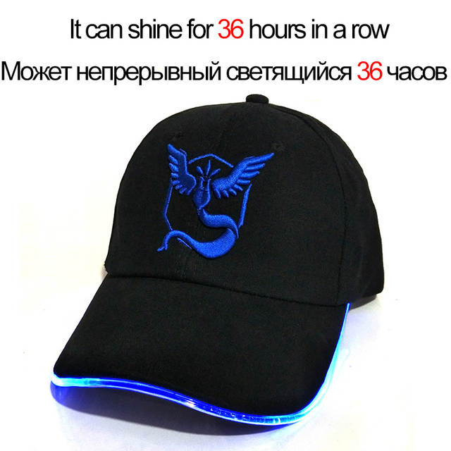 placeholder 2018 New LED Light Pokemon Go Cap Hat Team Valor Team Instinct  Pokemon Baseball Cap for 70921f184eff