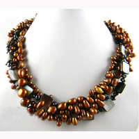 New Arriver,Handmade Pearl Jewellery,4 Strands 19inches 7 9mm Coffee Baroque Freshwater Pearl Necklace Black Shell Jewelry