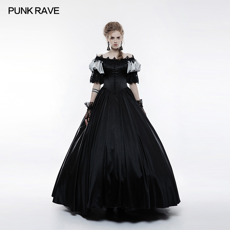Punk Rave Gothic Wedding Dress Long Red Black Velvet Steampunk VTG Victorian