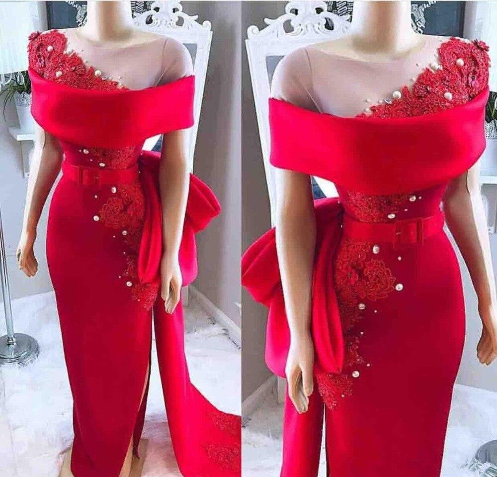 2019 élégant rouge hors de l'épaule robes de soirée dentelle Appliques robe formelle robe de soirée col transparent bal personnalisé robe de soirée