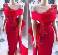 2019 Elegant Red Off The Shoulder Evening Dresses Lace Appliques Formal Gown robe de soiree Sheer Neck Prom Custom evening dress