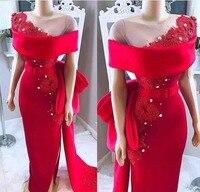 2019 Elegant Red Off The Shoulder Evening Dresses Lace Appliques Formal Gown robe de soiree Sheer Neck Prom Custom evening dress