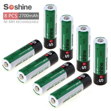 8pcs Soshine 1.2V AA 2700mAh Ni-Mh Rechargeable Battery with 1000 Cycle + Portable Battery Box