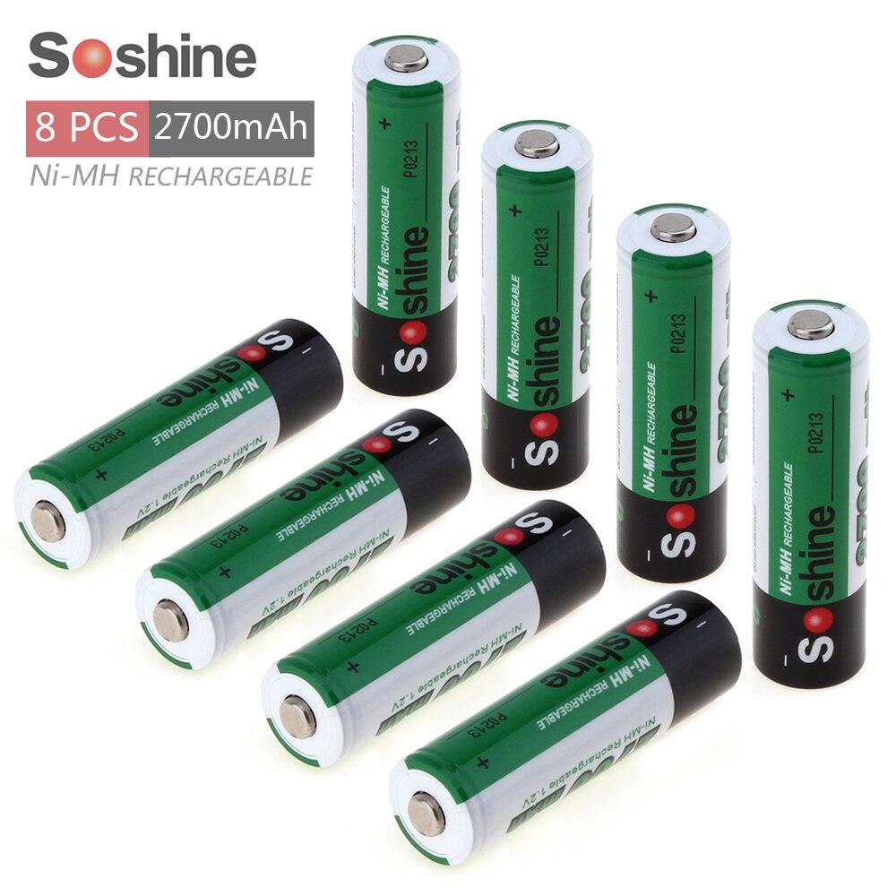 8pcs Soshine 1.2V AA 2700mAh Ni-Mh Rechargeable Battery with 1000 Cycle + Portable Battery Box 7 4v 10c 2700mah battery