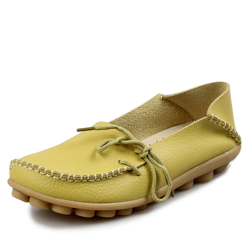 New Women Real Leather Shoes Moccasins Mother Loafers Soft Leisure Flats Female Driving Casual Footwear Size 35-42 In 15 Colors 2017 new shoes women genuine leather flats fashion mixed colors casual soft mother loafers moccasins female driving flat shoes