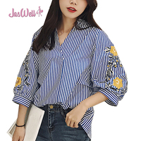 Jaswell Summer Women Shirt Fashion Casual Three Quarter Sleeved Shirt Blouse Elegant Cotton Loose Striped Floral