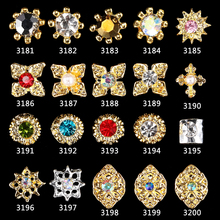 100pcs new Alloy 3D Nail Art Stickers Gold Round nail charms, jewels, jewelry, decoration, gems 3461-3480