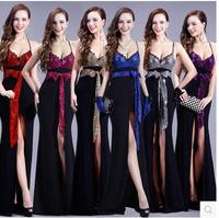 Nightclub Sexy Waist Deep V Sexy Split Spring Models Qi Bandage Gather Low Cut Costumes 5333