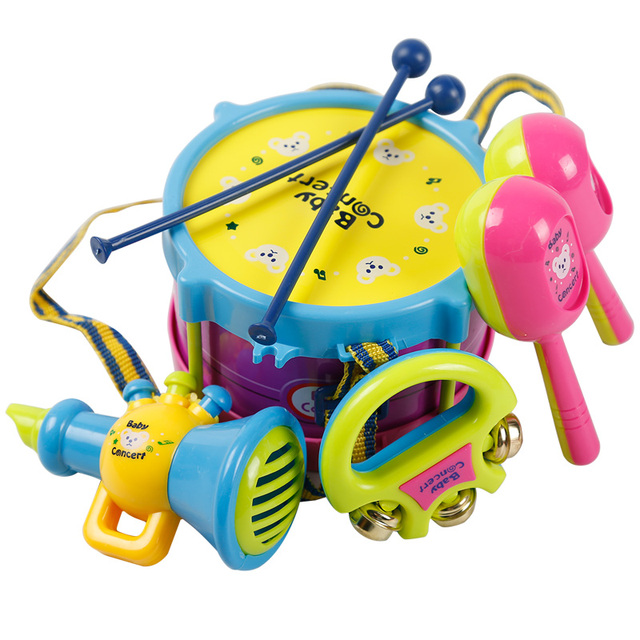 Newest 5pic Lot Educational Baby Kids Roll Drum Musical Instruments