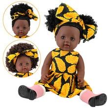 """18 """"45 cm vinilo de silicona completo reborn baby black doll pop africano americano recién nacido niña muñecas regalo l o l muñeca"""