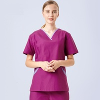 2018 Summer Medical Doctor Uniform Short Sleeve V Neck Nurse Scrubs Set Surgical Operation Overalls Top+Pants Slim SPA Uniforms