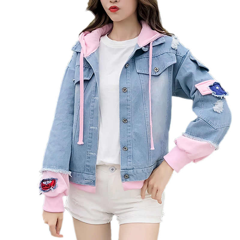 483e86021ac 2018 Korea Kpop Retro Washing Frayed Patch Bomber Jacket Women Jeans Jackets  Pink Blue Ripped Distressed