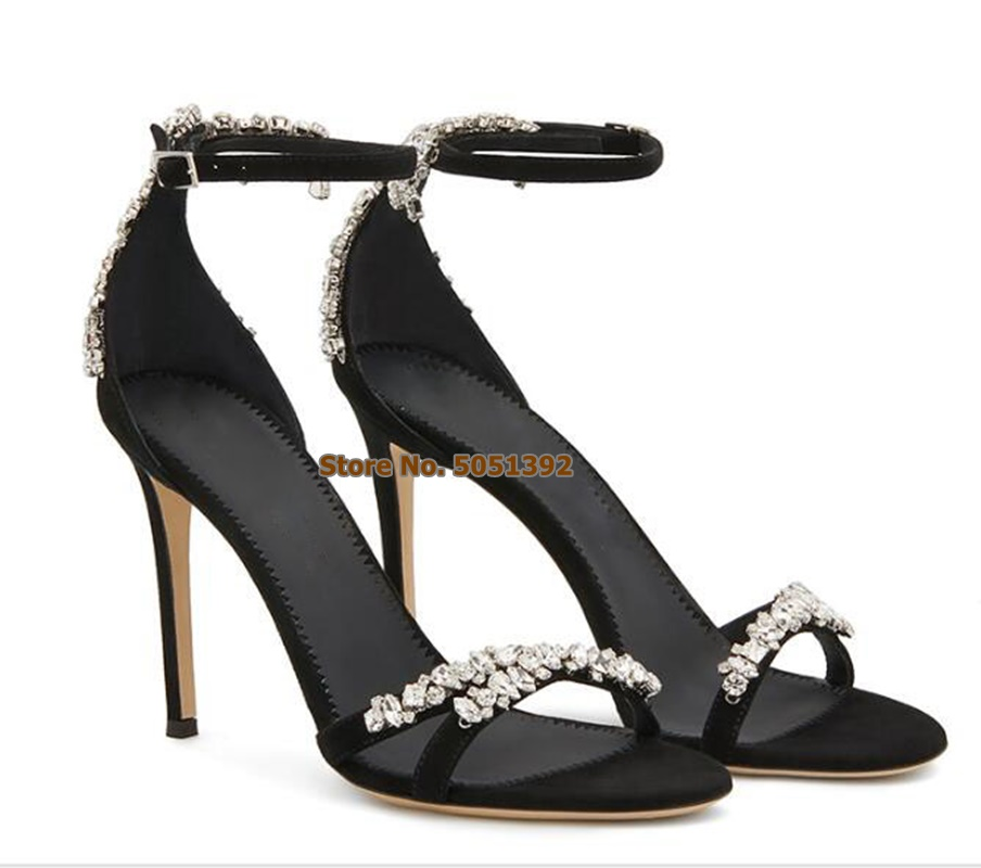 Women High Heel Sandals Peep Toe Suede Rhinestone Elegant Banquet Shoes Glittering Jewelry Stiletto Heel Pumps Ankle Strap in High Heels from Shoes