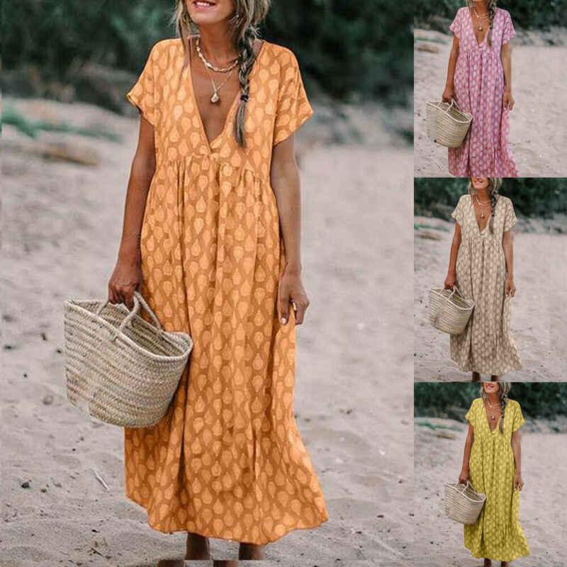 جديد إمرأة بوهو عميق الخامس الرقبة منقطة الأزهار طباعة موضة فضفاض تونك طويل مطوي فستان فضفاض قفطان شاطئ عطلة فستان الشمس