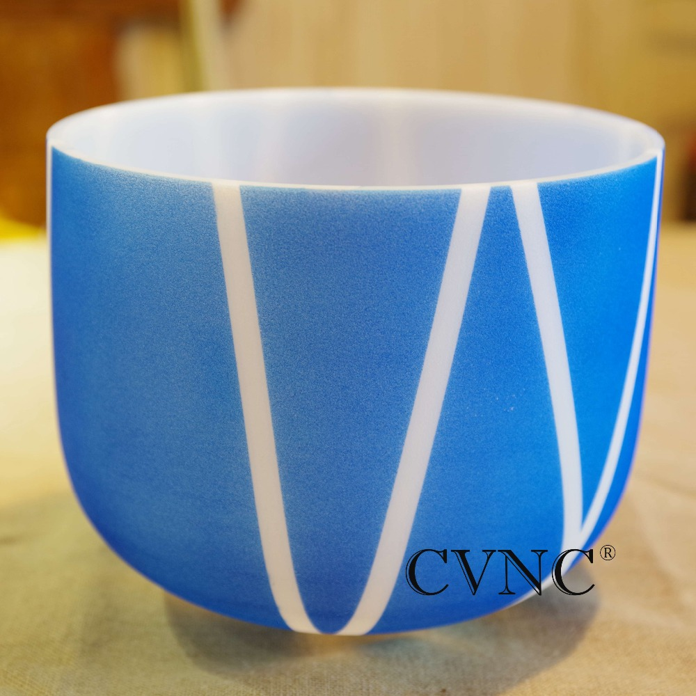 Note 11 inch Color stripe Chakra Frosted Quartz Crystal Singing Bowl GiftNote 11 inch Color stripe Chakra Frosted Quartz Crystal Singing Bowl Gift
