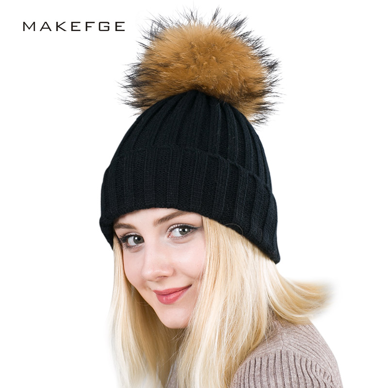 a2c3ad66b6d 2018 new Real Fur Winter Hat Raccoon Pom Pom Hat For Women Brand Thick  Women Hat Girls Caps Knitted Beanies Cap Wholesale