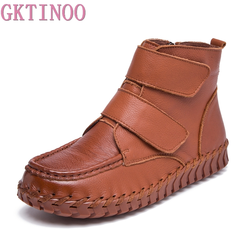 GKTINOO New 2018 Women Ankle Boots Handmade Flat Boots Real Genuine Leather Shoe Comfortable Casual Shoes Women Martin Boots цены онлайн