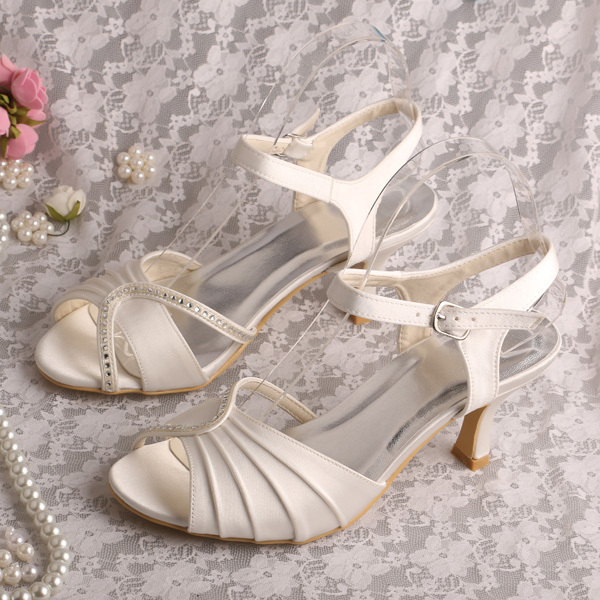 eadac6c1f8e Brand Name Women Mid Heel Sandals Bridal Ivory 6.5CM Free Dropshipping